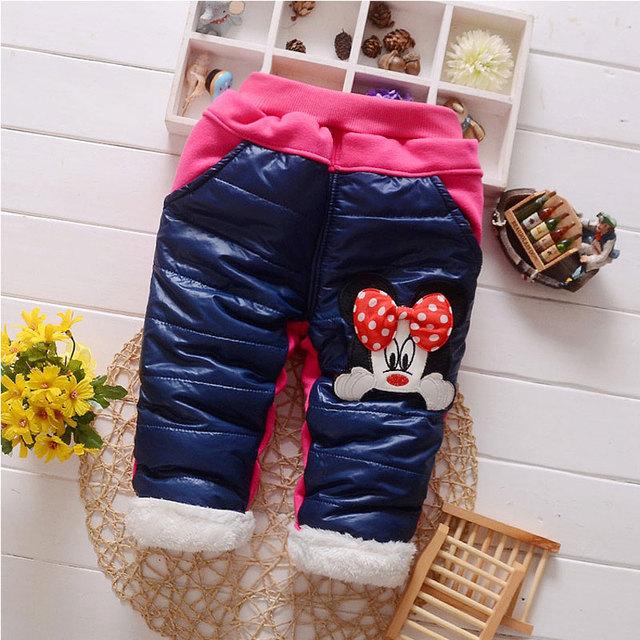 Meninas do bebê roupas de inverno ao ar livre calças quentes calças grossas para o infante do bebê marca de roupas meninas dos desenhos animados calças casuais de esportes