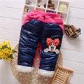 Muchachas del invierno del bebé ropa exterior gruesa caliente pantalones para bebés infantiles ropa de marca pantalones ocasionales de los deportes de dibujos animados