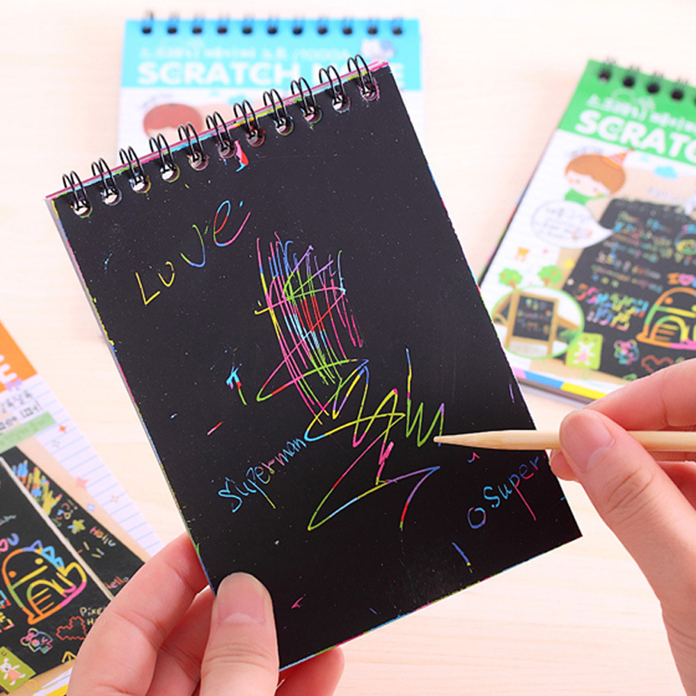 Kids Magic Color Painting Board Scraping Drawing Book With Magic Pen Painting Graffiti Scratched Educational Children Toys