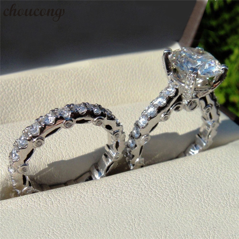 Choucong уникальные винтажные наборы колец 5A Циркон Cz стерлингового серебра 925 обручальные Обручальные кольца для мужчин и женщин модные ювели