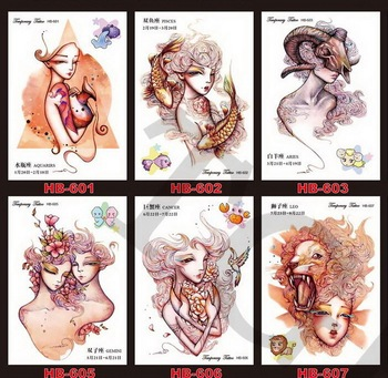 1000pcs/Lot Rub-on Full Arm Tattoo Waterproof Temporary Tattoo Dreamcatcher Chinese Zodiac Body Paste Sticker Free Shipping