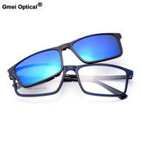 Gmei Optical 1620 Urltra Light TR90 Eyeglasses Frame With Polarized Clip On Sunshades For Women And