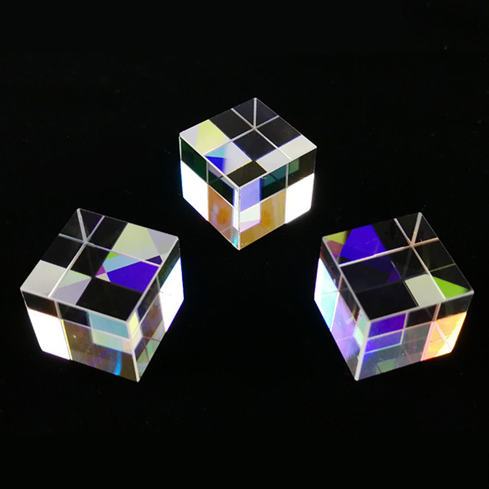 Stained Glass Prism Beam Splitting Prism Optical Experiment Instrument Optical Lens Six-Sided X-Cube Bright Light Cube Spectrum