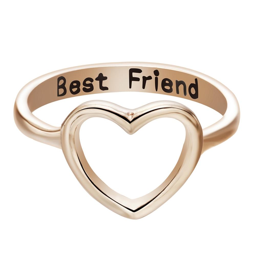 Kinitial Drop Shipping 1pcs Best Friend Heart Ring Heart Shape ...