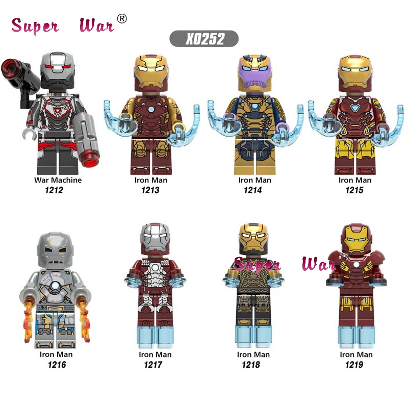 Single Super Hero New Marvel Avengers 4 Endgame Iron Man IronMan War Machine MK1 MK5 MK7 MK41 MK46 MK85 building blocks Kid Toys