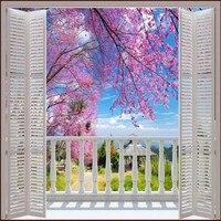 Beibehang Personnalisé Photo Papier Peint 3D Stéréo Grand Murales Faux windows/romantique cerise printemps domaine canapé lit chambre flash