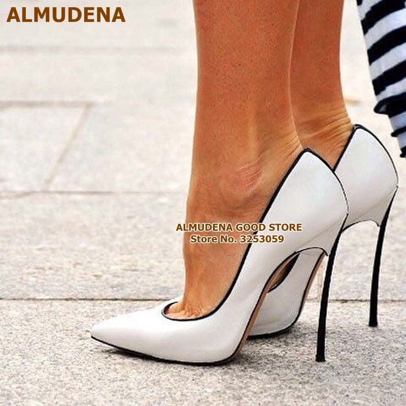 ALMUDENA Sexy Ladies Best Selling Rose Red Patent Leather Pumps Thin Metal Heel Fuchsia Banquet Party Shoes Shallow Slip on Shoe in Women 39 s Pumps from Shoes