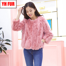 Lady Real Rex Rabbit Fur Coat Hot Genuine Real Rex Rabbit Fur Short Style Jacket Women Warm Soft Natural Rex Rabbit Fur Overcoat cheap Double-faced Fur Real Fur YH-FUR-6288 STANDARD REGULAR Natural Color O-Neck Nine Quarter Covered Button Solid Casual Slim