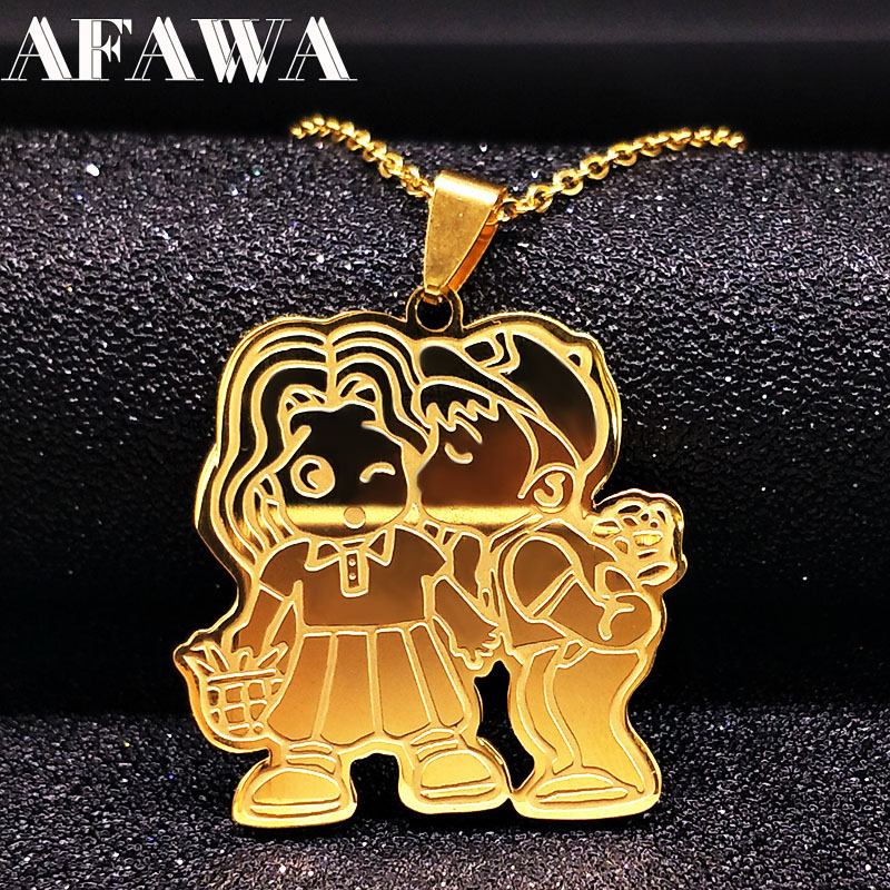 Cute Boy kiss Girl Pendants Necklaces Choker For Women Gold Silver Lovely Stainless Steel Necklace Jewelry Christmas Gift N69191