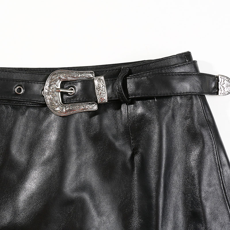 2019 Genuine Leather Skirts Women Black A line Female Leather Moto amp Biker Mini Skirts Korean Style Real Sheepskin Ladies Skirts in Skirts from Women 39 s Clothing