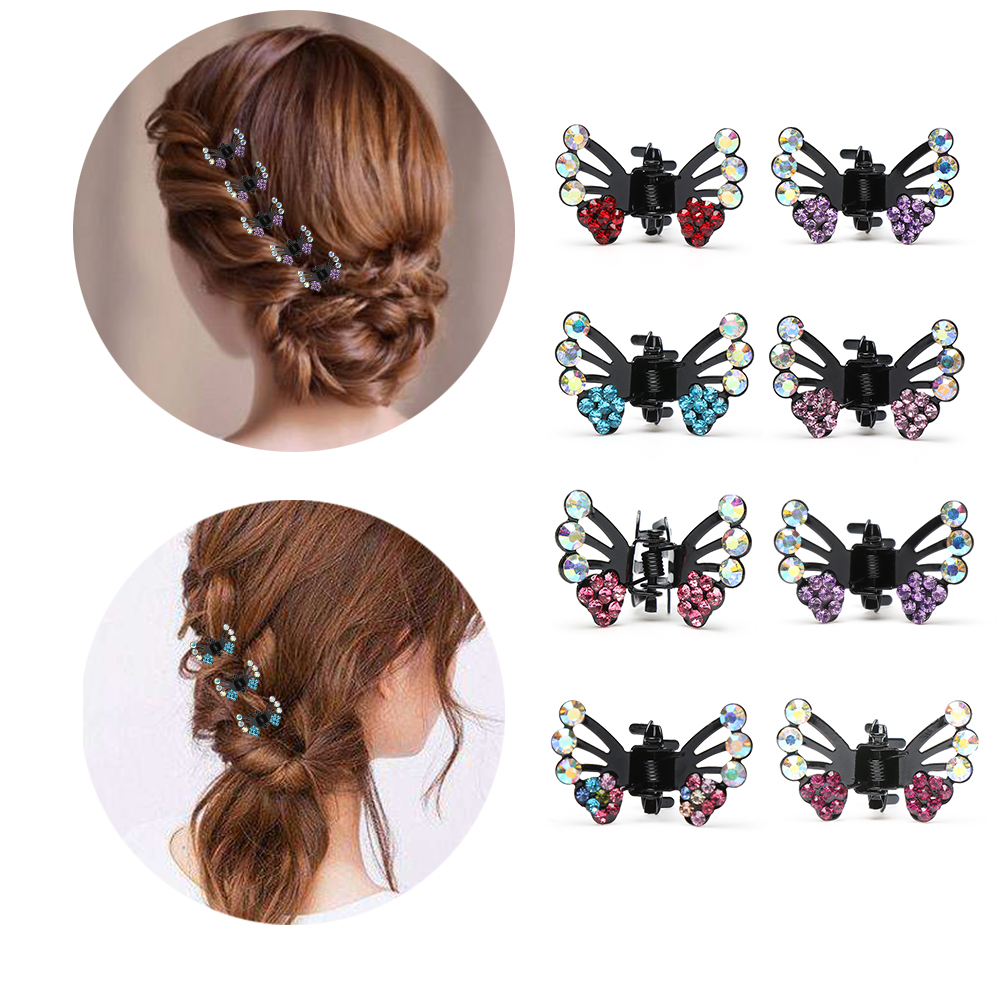 Sparkling Women Girls Diamante Crystal Butterfly Hair Claw Clamp Small Hair Clip