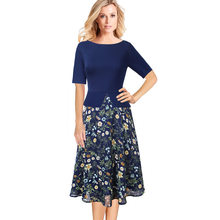 Vfemage Vrouwen Lente Herfst Vintage Elegante Bloemenprint Chiffon Patchwork Werk Office Party Fit en Flare A-lijn Midi Jurk 008(China)