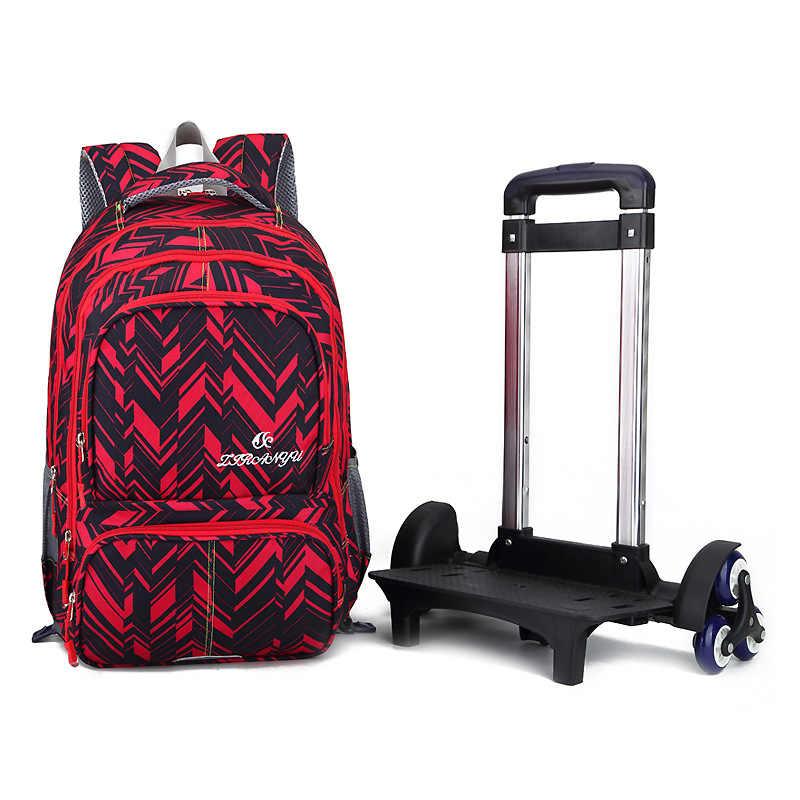 Wodoodporny plecak na kółkach chłopcy dziewczęta dzieci tornister koła torba podróżna plecak bagażowy dzieci Rolling odpinany tornistry