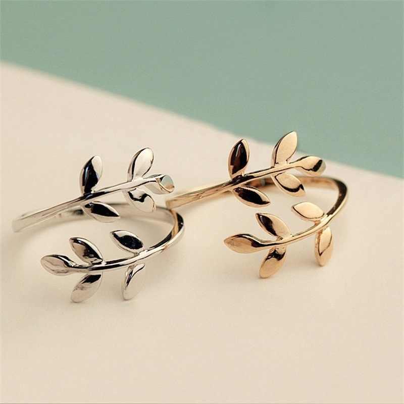 Очаровательные два цвета оливковое дерево ветка с листьями Открытое кольцо для женщин девушка свадебные кольца регулируемое; кулак украшения для пальцев Рождество