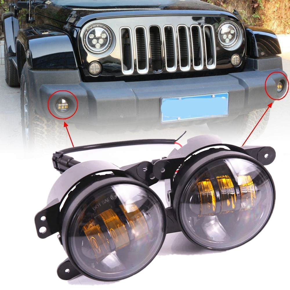 Pair 4Inch 30W LED Fog Lights Driving Lamps 97-17 for Jeep Wrangler JK TJ LJ