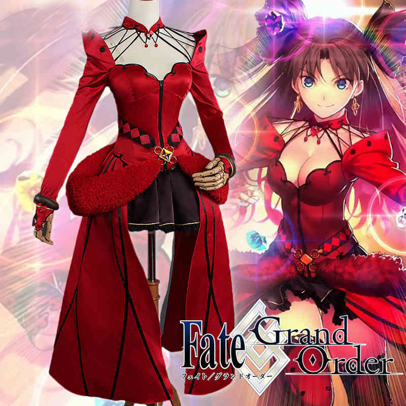 Anime Cosplay Fate Grand Order Cosplay Tohsaka Rin Cosaplay Customized Available Game Anime Formal Craft Red Dress Costume