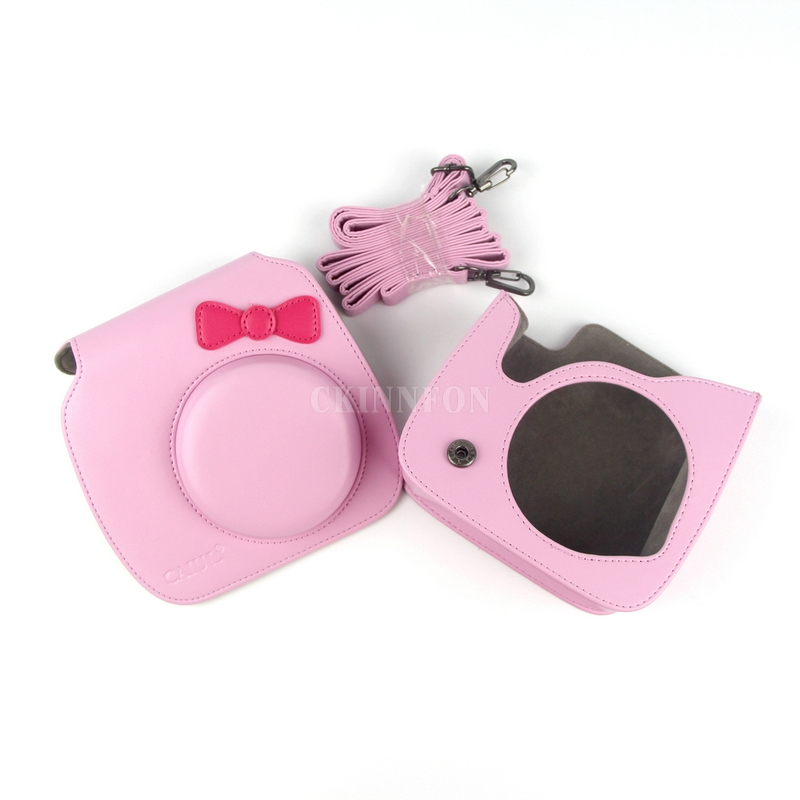 DHL 20PCS Pink Colorful PU Leather Bag Case For Fujifilm Instax Mini Hello Kitty Camera with