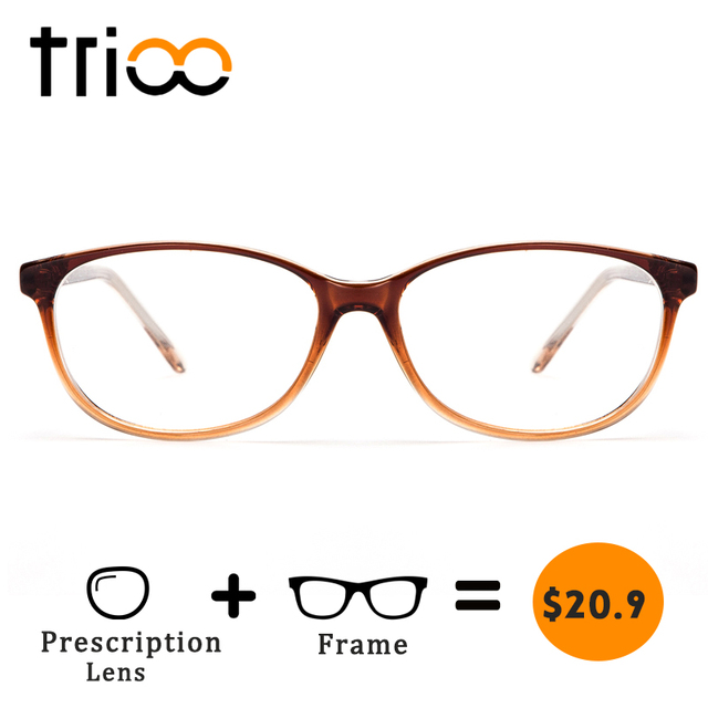 TRIOO Prescription Glasses Women Myopia Eyeglasses Oval Frame Clear Lens Female Diopter Reading Spectacles Computer Eyewear Lady