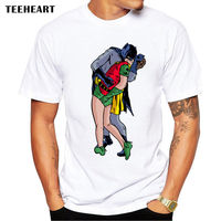 Superhero Love Life Batman Robin Kiss Pride Funny Joke Men T Shirt Tee