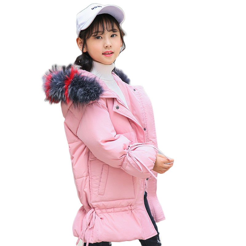 2018 Winter Teenage White Duck Down Jackets Girls Raccoon Fur Collar Coats Baby Thickening Hooded Warm Pakas kids clothes P215 недорого