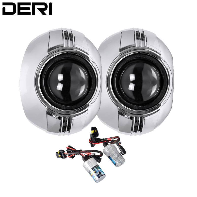 Voiture rénovation style 2.5 pouces Mini HID Bi xénon phare projecteur lentille H4 H7 adaptateur H1 xénon ampoule 4300K 6000K 8000K Max masque