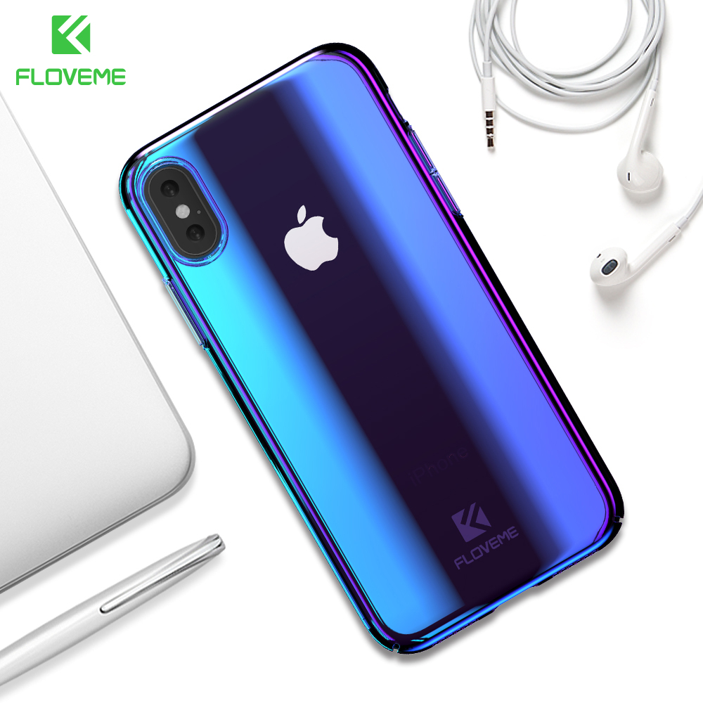 new style ee0be 49ca8 FLOVEME Blue Ray Light Case for iPhone X iPhone XS Max Luxury Hard PC Phone  Case for iPhone XR 8 7 Plus 5s 5 SE Cover Capa Shell