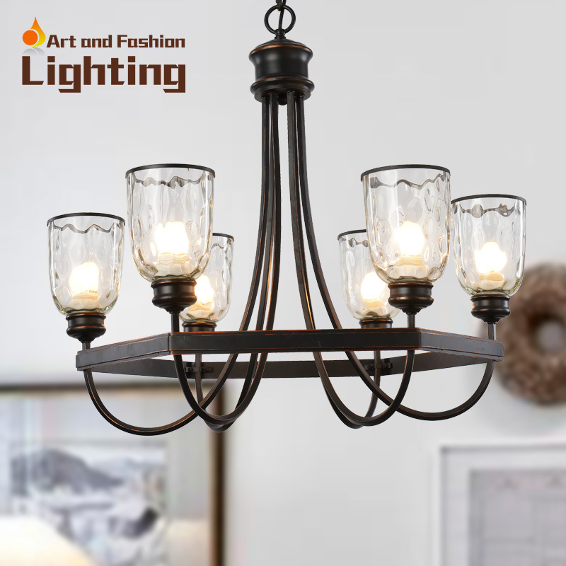 Por Iron Cottage Chandelier Vintage Surface With Clear Glass Light Shade Special Designer Idea E14 6