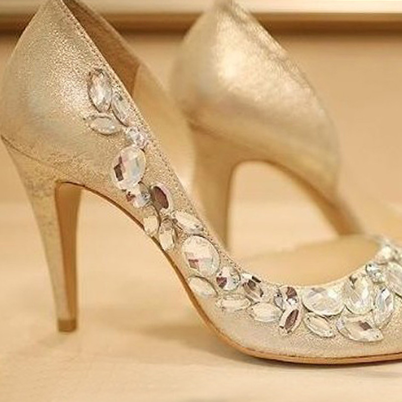 Gold Rhinestone Shoes Wedding For Bridal Bridesmaid Dress Sandals Peep Toe Party Evening Formal In Womens Pumps From On
