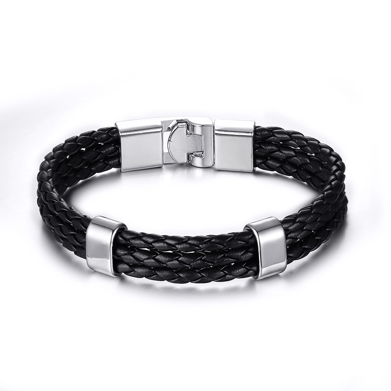 MenS Silver Tone Triple Row Black Woven Leather Bracelet in Black Multi-layer Braided Wristband Pulseira Braslet Male Jewelry
