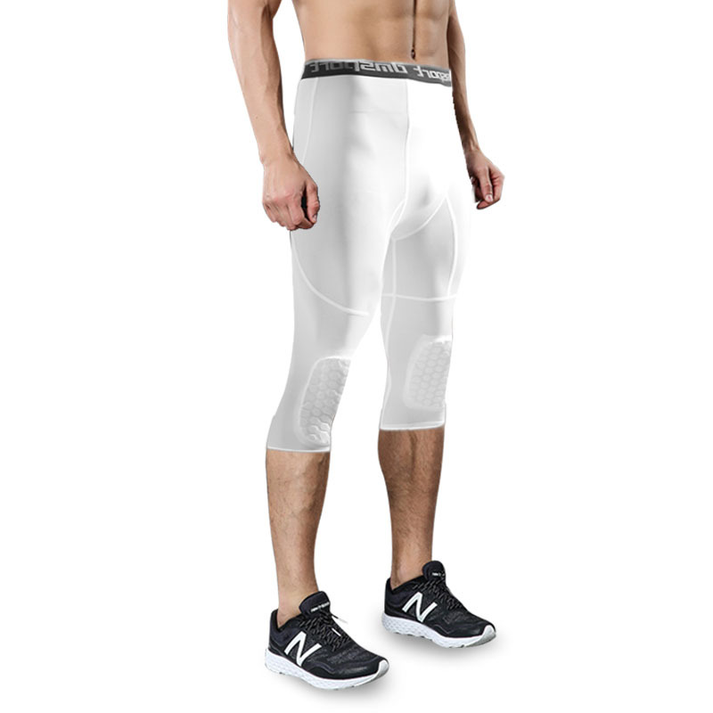 95f10ef1626dc Men's Basketball Padded Three Quarter Tights Pants with Knee Pads for Men 3/ 4 Capri Compression Tights Leggings Girdle Training -in Trainning &  Exercise ...