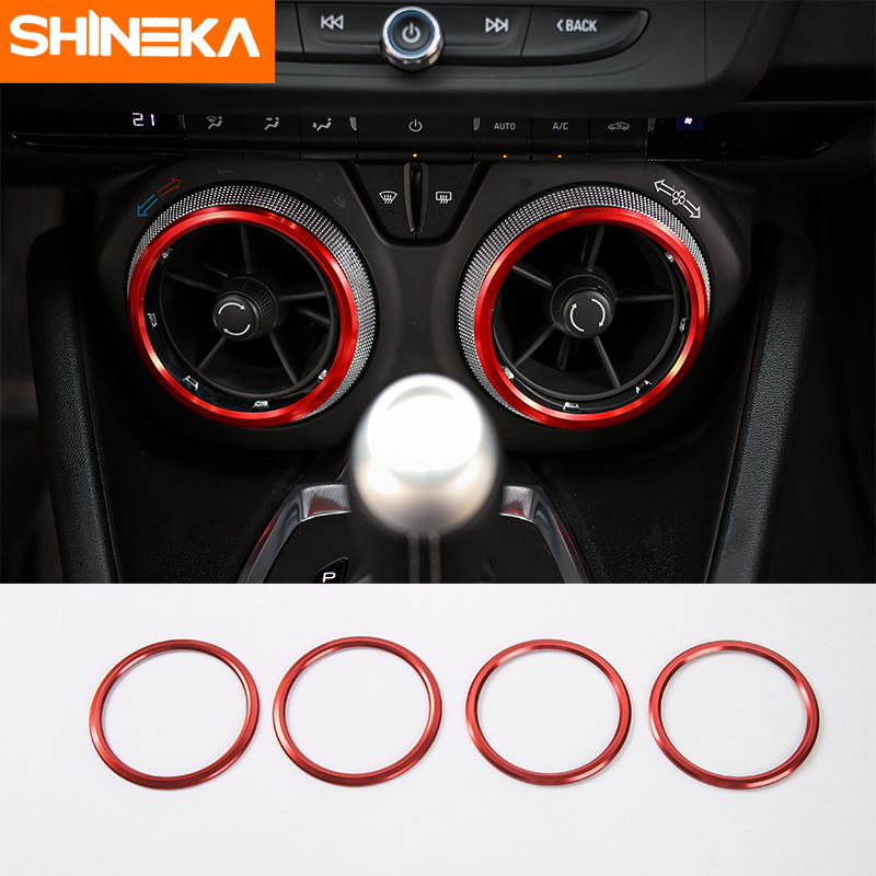 SHINEKA Air Condition Outlet Vent Trim AC Ring Bezels for Chevrolet Camaro 2017+ Car Styling Accessories shineka abs 4 colors auto door interior decoration trim for chevrolet camaro 2017 car styling accessories
