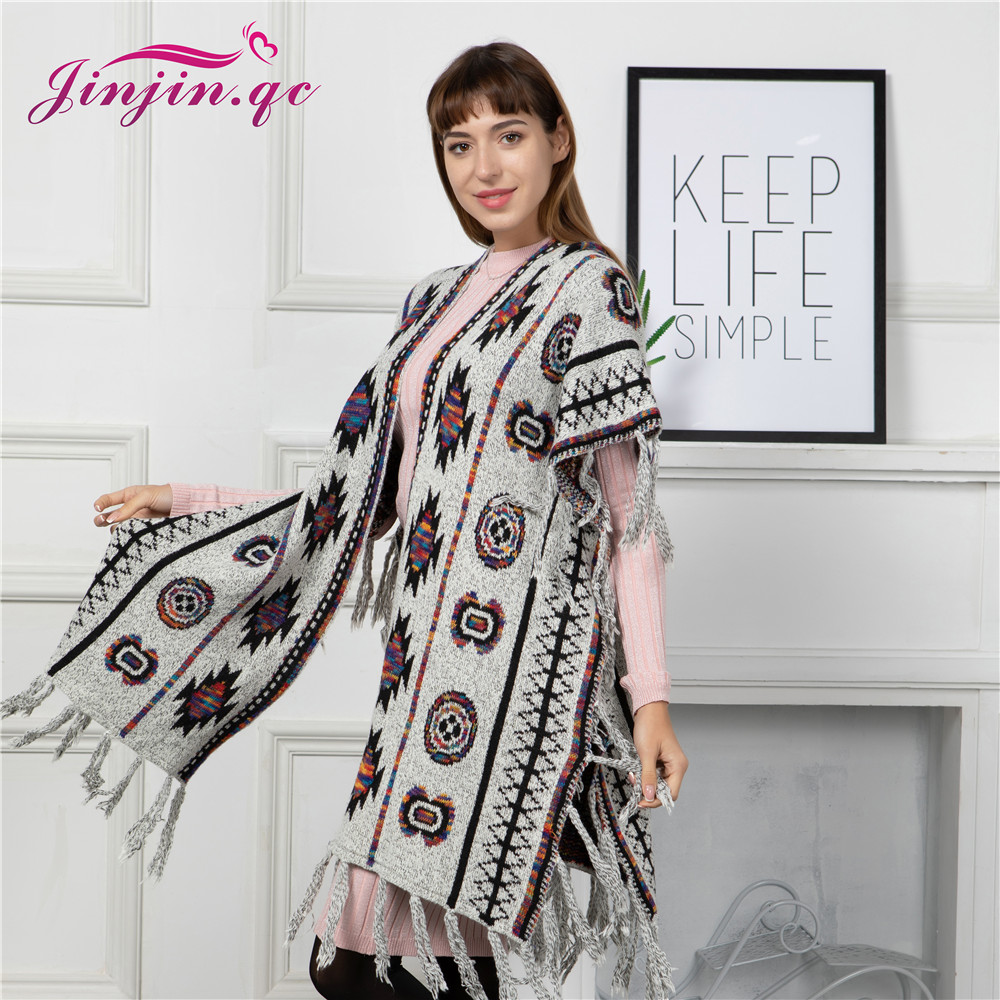Jinjin.QC Poncho Etnical Traditional Geometric Figures Women Acrylic Fashion with tassel details Multiple Colors Warm Winter