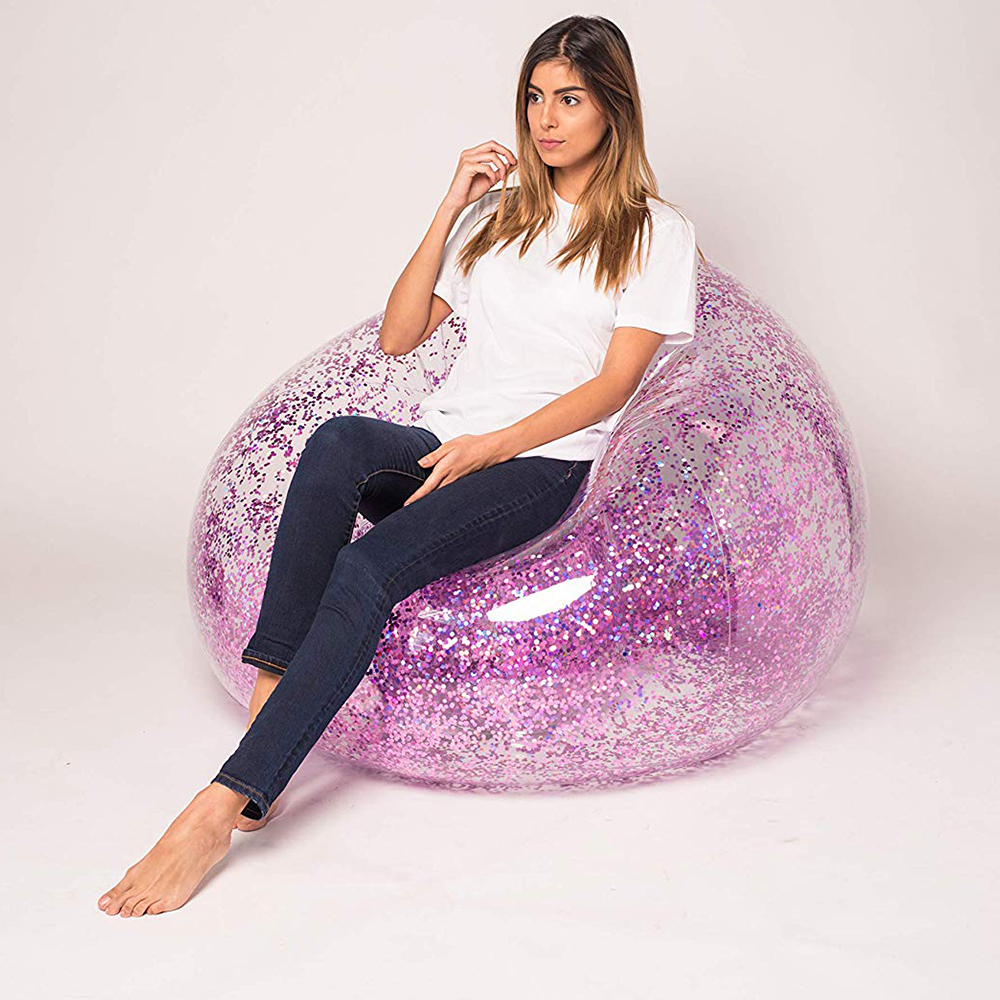 100cm Giant Inflatable Sofa Colorful Glitters Mattress Lounger Lazy Sleeping Bag For Adult Children Indoor Outdoor Toys Air Sofa