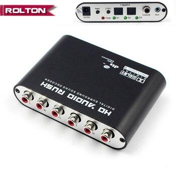 SPDIF óptica 3.5 AUX 6 Coaxial Digital para Analógico RCA Audio HD Apressar 5.1 AC3 Decodificador DTS Dolby Surround Sound amplificador Conversor