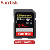 SanDisk Extreme PRO SD Card 300Mb/s 128GB 64GB 32GB Memory Cards Class 10 SDXC SDHC U3 Flash Card High Speed UHS II for Camera