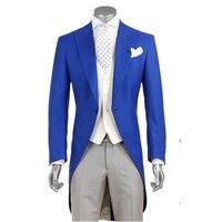 Новые мужские костюмы, Модный Королевский синий Жених длинный фрак смокинг лучшие мужские свадебные костюмы на заказ