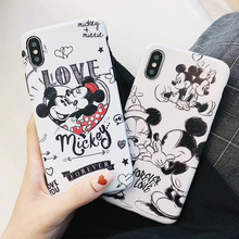 love Minnie Mickey Couple Soft TPU matte Case for coque iPhone X XR 7 8 Plus 6s 6plus Silicone XS MAX Cover Accessories