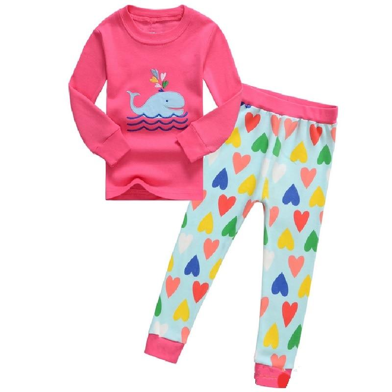 Hot Pink Cat Baby Girls Pajamas 100% Cotton Autumn Long Sleeve 2 3 4 5 6 7 Years Children PJ'S Boys Pijama Girl Home Clothes 2