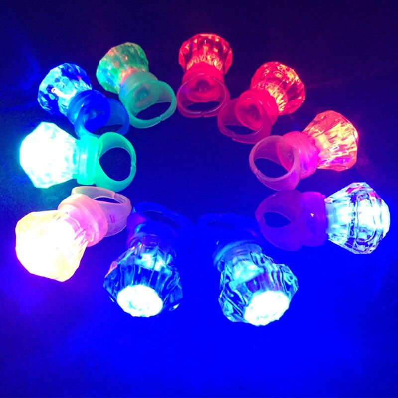 50pcs Finger Light Shiny Neon Stick LED Ring Luminous Toy Glow Dance Shining Decoration