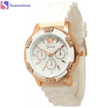 2016 New clock Sport White Rose Gold Chronograph Rhinestone Watches Women Dress Watch quality Quartz Silicone wristwatch