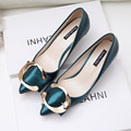 New Autumn Spring Women Pumps Metal Buckle Pointed Thin Low High Heels Shoes Female Sexy Elegant High-heeled Shoes G10856-2