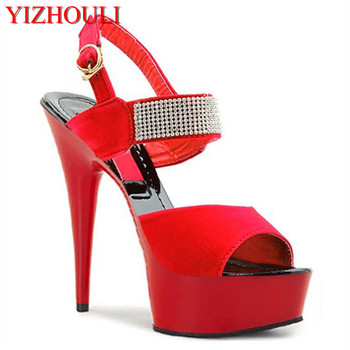 The summer's new peep-toe sandals, platform thick heels and red black women's shoes, water drill and women's sandals