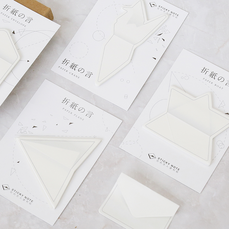 40 pcs Lot Paper folding sticky note Japanese Origami envelope crane memo pad Decorative sticker Office School supplies FM747 in Memo Pads from Office School Supplies