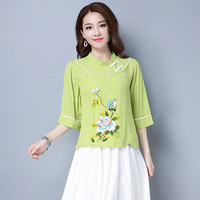 Women Clothing Top Spring Summer New National Thin Cotton Linen Shirt Ladies Latest Casual Female Print