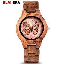 ELMERA Reloj de madera para mujer, de pulsera, con movimiento de cuarzo, de madera