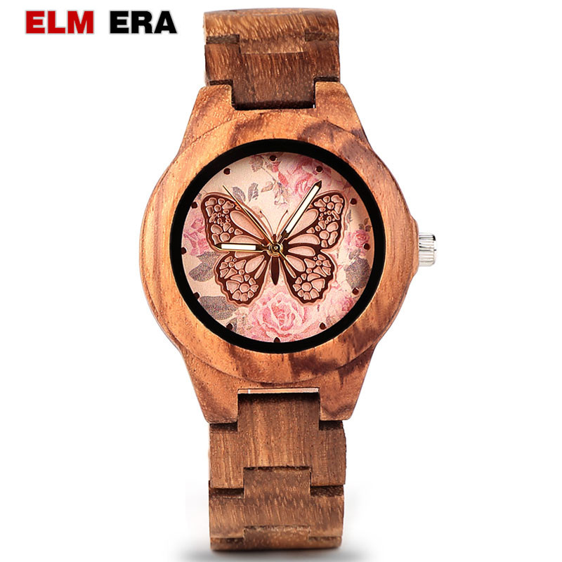 ELMERA wood watch women ladies watches women in Wristwatch Quartz Movement Wood Watch relogio feminino-in Women's Watches from Watches