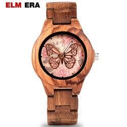 Elmera relógio de madeira feminino senhoras relógios de pulso movimento quartzo relógio de pulso relógio de madeira relogio feminino