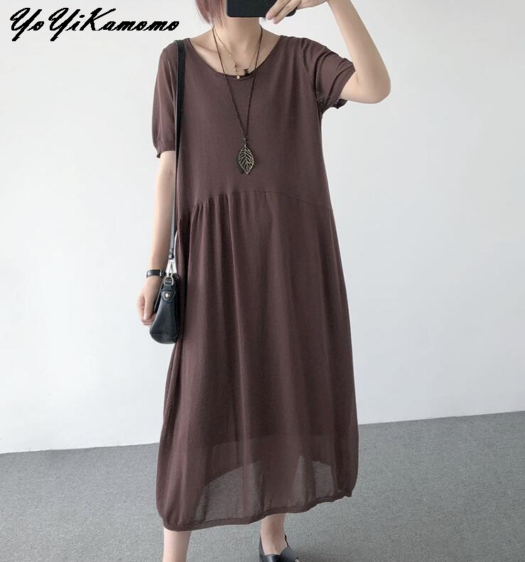 YoYiKamomo Linen Women Dress 2018 Summer Thin Big Size Knitt Dress Short Sleeve Loose Korean Loose Robe