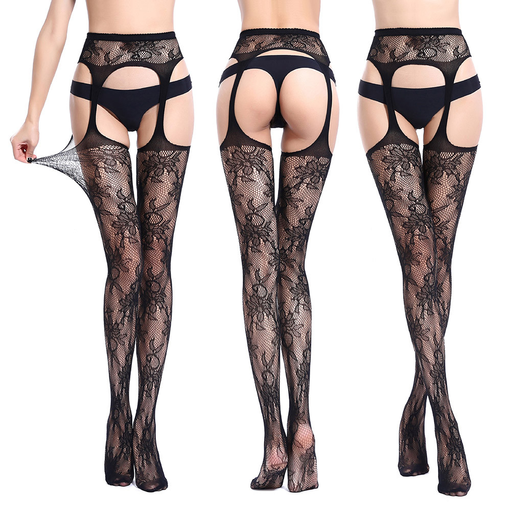 Sexy Womens Lingerie Sexy Net Lace Top Garter Belt Thigh Stocking Pantyhose Ropa Sexy Mujer Erotica Womens Lingerie