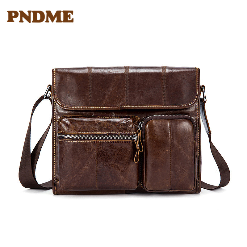 Leather men 39 s bag retro men 39 s single shoulder bag large capacity horizontal style clamshell cross body bag